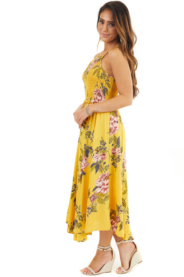 Amber Floral Print Maxi Dress with Spaghetti Straps side full body