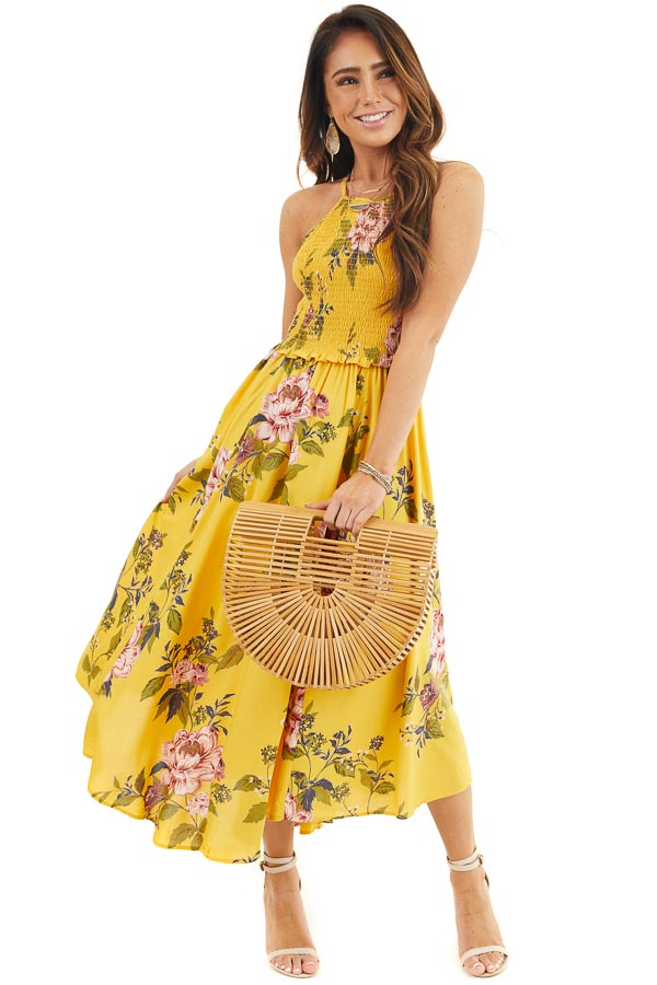 Amber Floral Print Maxi Dress with Spaghetti Straps front full body