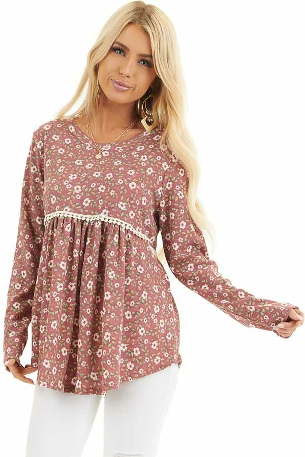 Marsala Floral Long Sleeve Babydoll Top with Lace Detail front close up