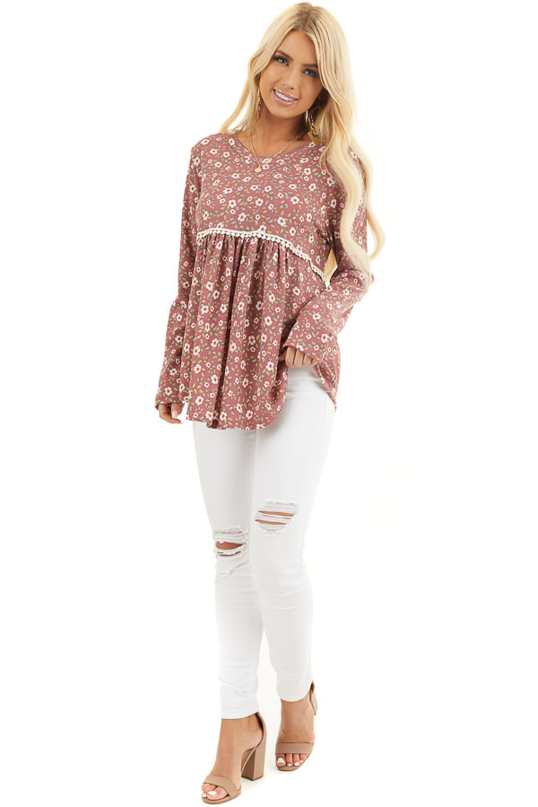 Marsala Floral Long Sleeve Babydoll Top with Lace Detail front full body