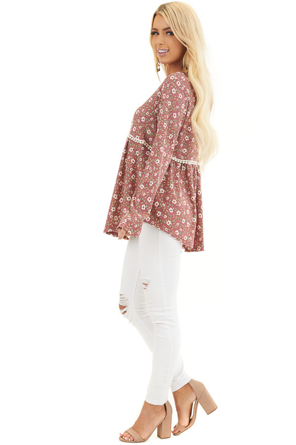 Marsala Floral Long Sleeve Babydoll Top with Lace Detail side full body