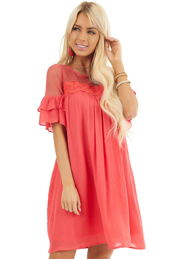 Deep Pink Short Sleeve Mini Dress with Crochet Lace Detail front close up