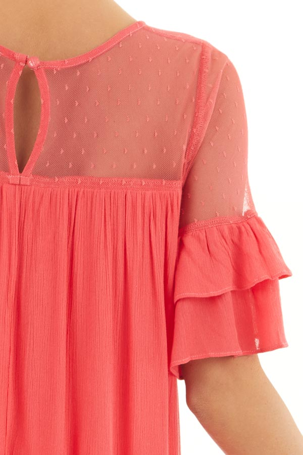 Deep Pink Short Sleeve Mini Dress with Crochet Lace Detail detail