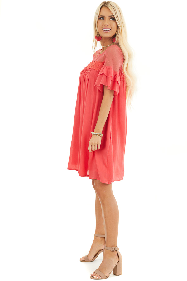 Deep Pink Short Sleeve Mini Dress with Crochet Lace Detail side full body