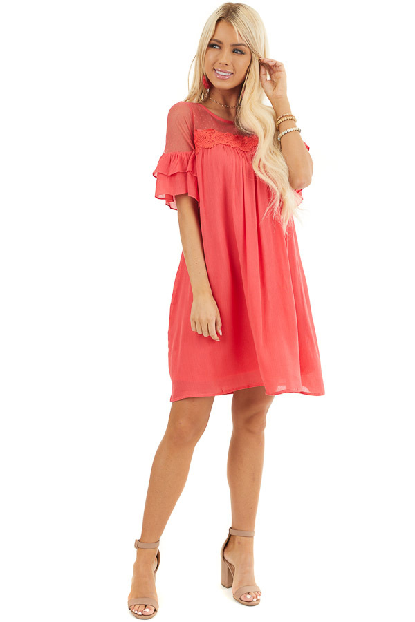Deep Pink Short Sleeve Mini Dress with Crochet Lace Detail front full body