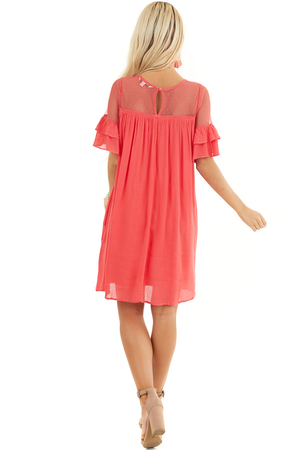 Deep Pink Short Sleeve Mini Dress with Crochet Lace Detail back full body