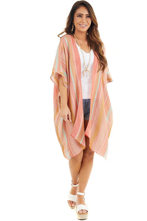 Coral Multicolor Stripe Woven Kimono with Raw Hemline front full body