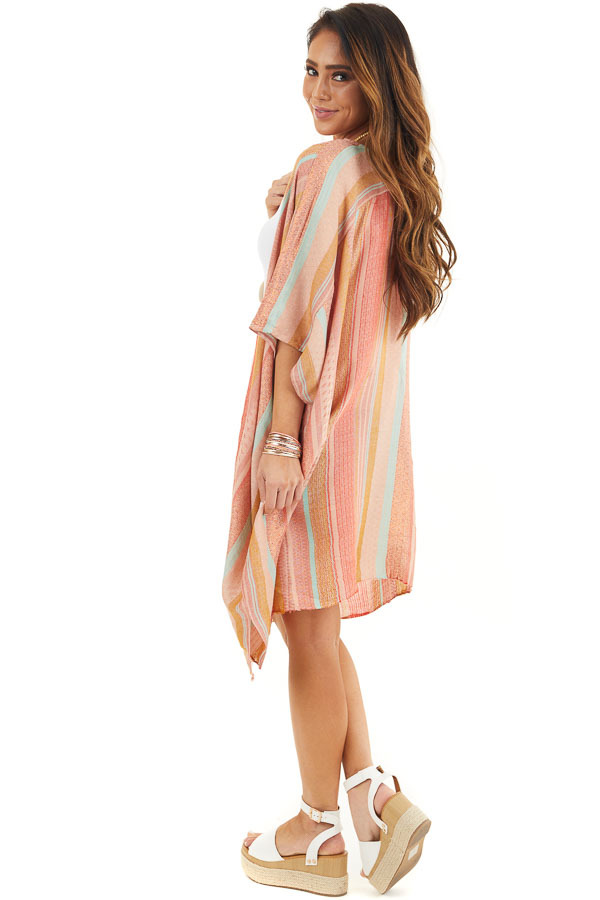Coral Multicolor Stripe Woven Kimono with Raw Hemline side full body