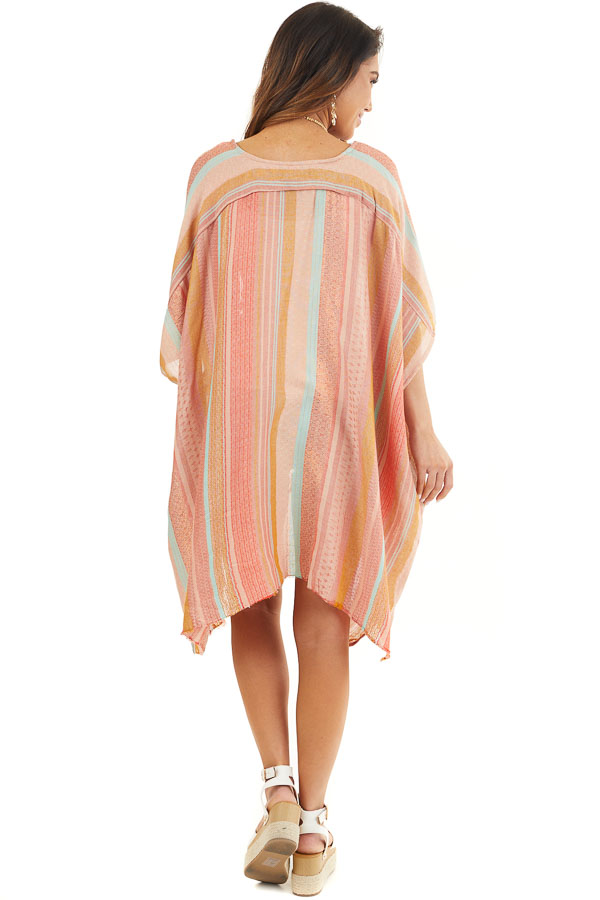 Coral Multicolor Stripe Woven Kimono with Raw Hemline back full body
