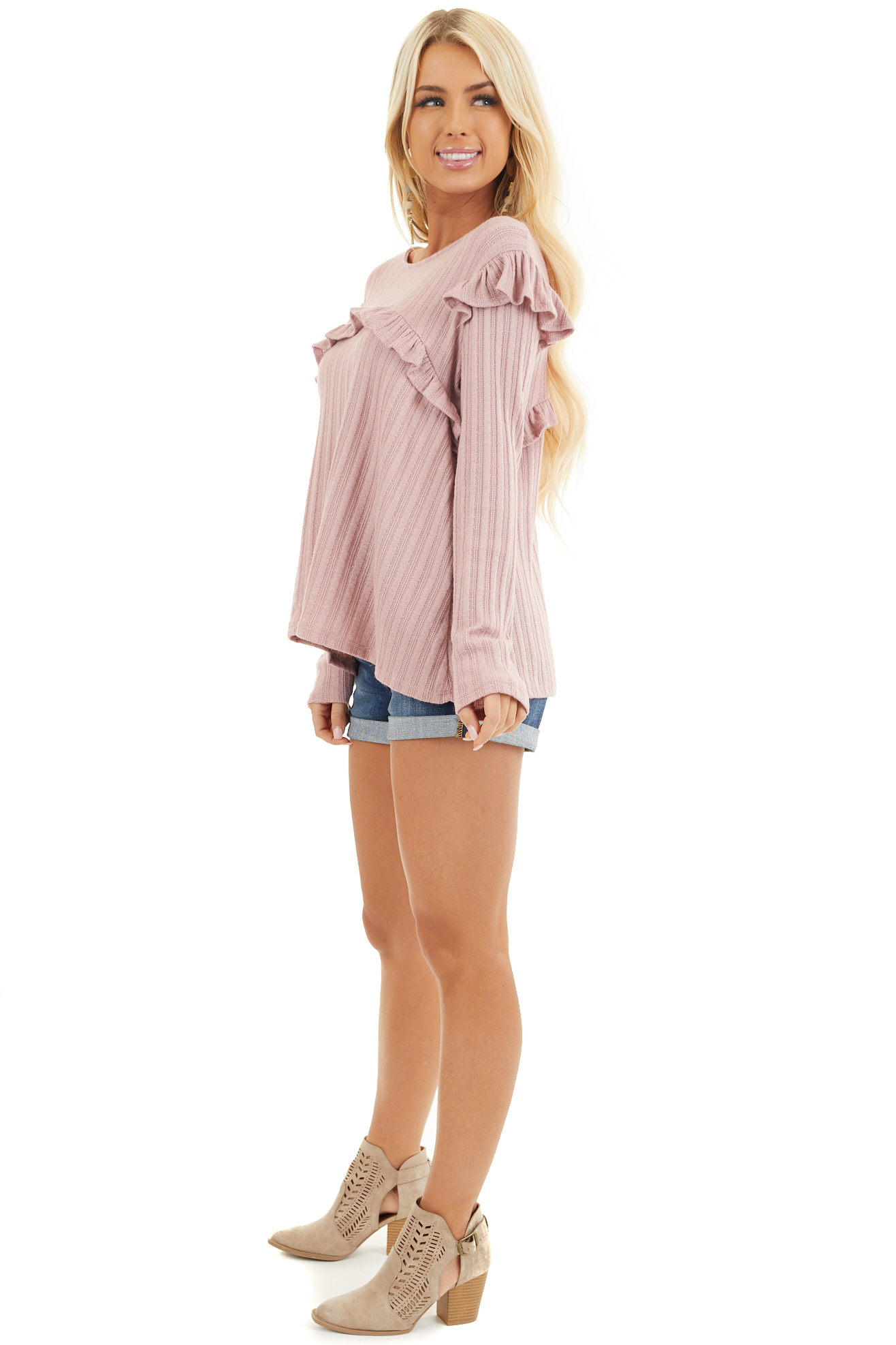 Dusty Pink Textured Long Sleeve Top with Ruffle Details side full body