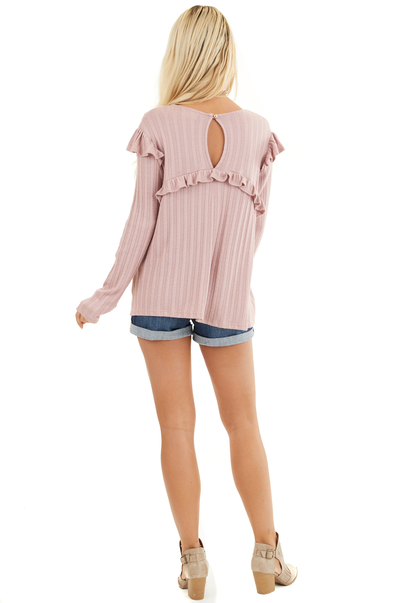 Dusty Pink Textured Long Sleeve Top with Ruffle Details back full body