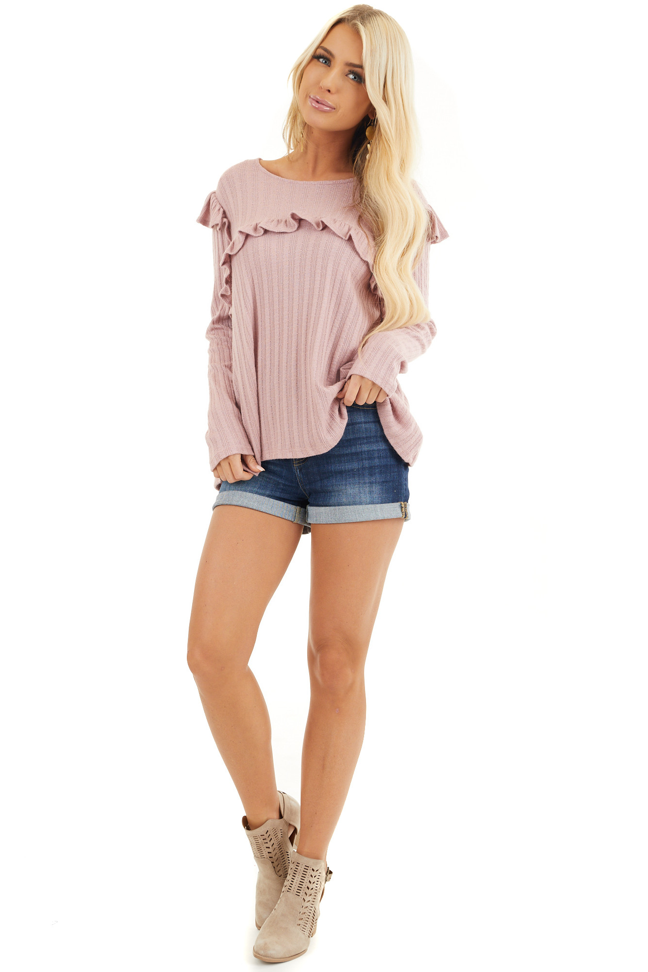 Dusty Pink Textured Long Sleeve Top with Ruffle Details front full body