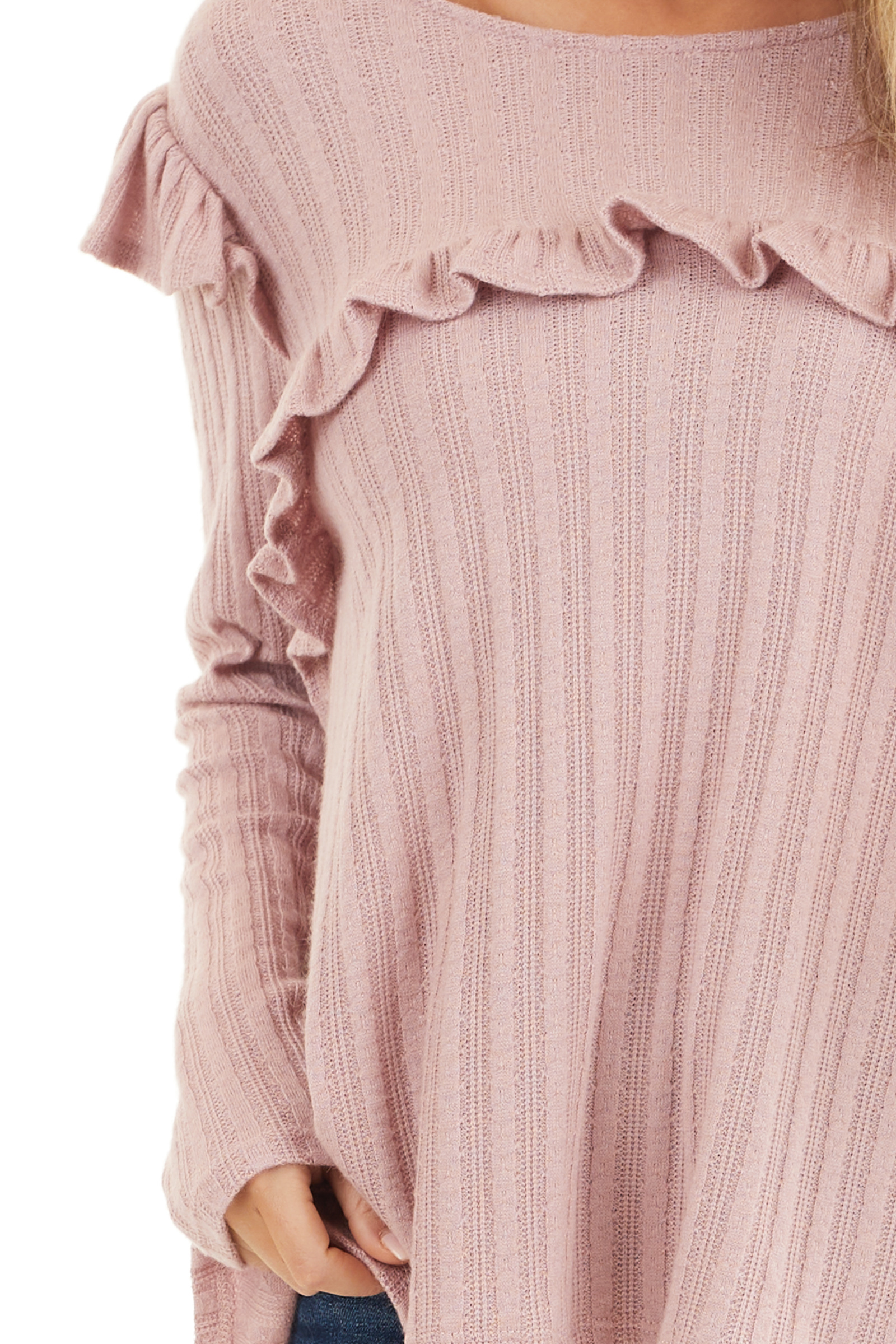 Dusty Pink Textured Long Sleeve Top with Ruffle Details detail