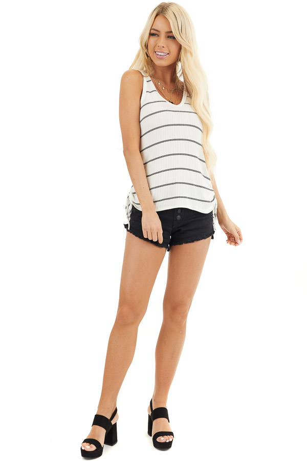 White and Black Striped Ribbed Tank Top with Cinched Sides front full body