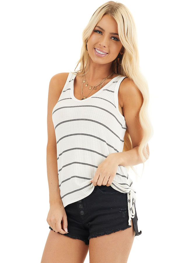 White and Black Striped Ribbed Tank Top with Cinched Sides front close up