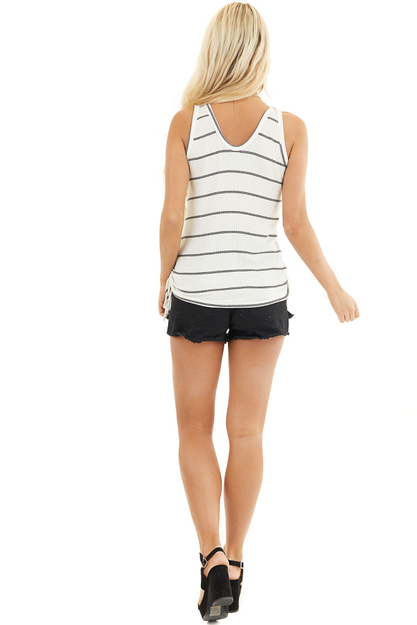 White and Black Striped Ribbed Tank Top with Cinched Sides back full body