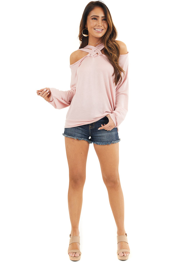 Blush Long Sleeve Top with Double Criss Cross Detail front full body