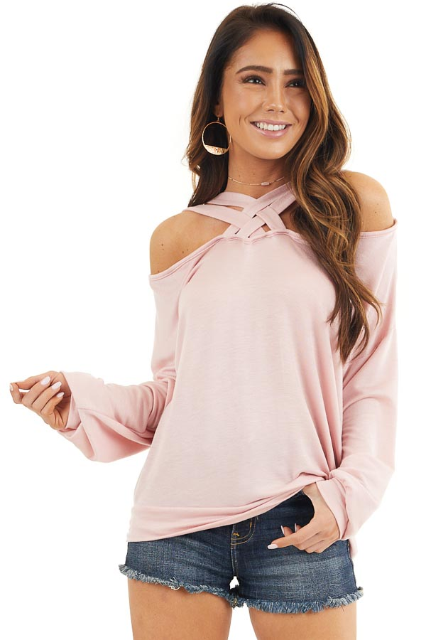 Blush Long Sleeve Top with Double Criss Cross Detail front close up