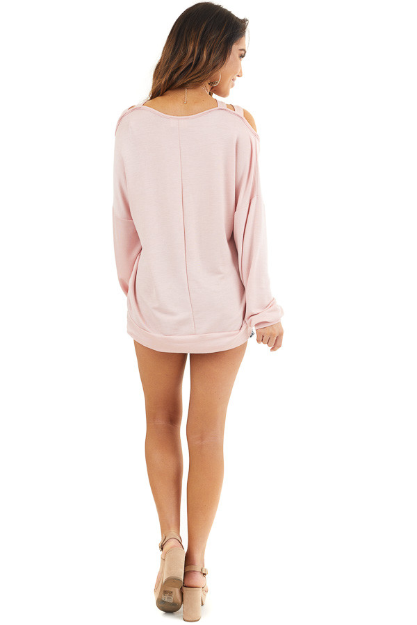 Blush Long Sleeve Top with Double Criss Cross Detail back full body
