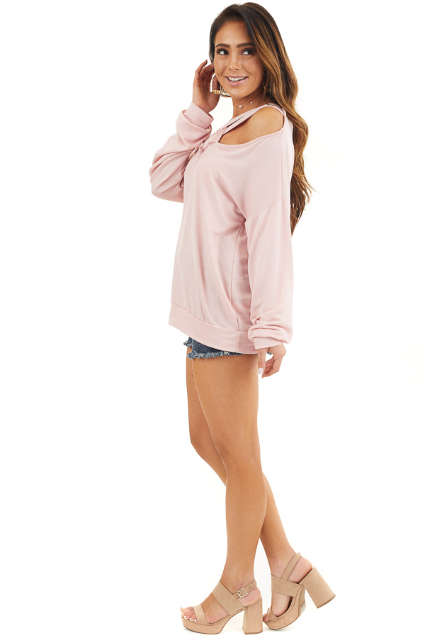 Blush Long Sleeve Top with Double Criss Cross Detail side full body