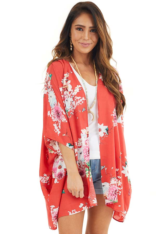 Bright Red Floral Print Short Sleeve Kimono with Open Front front close up