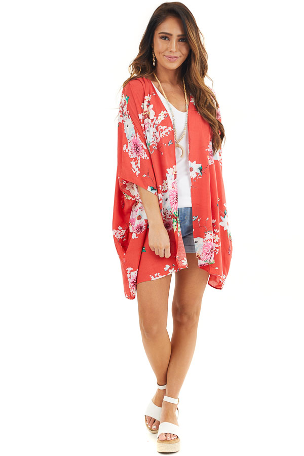 Bright Red Floral Print Short Sleeve Kimono with Open Front front full body