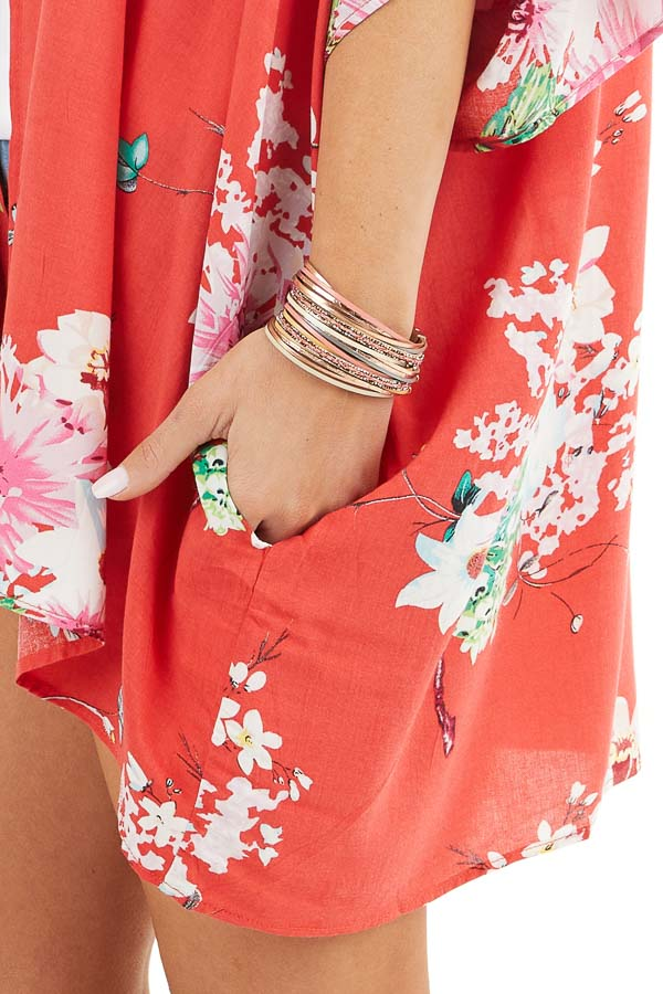 Bright Red Floral Print Short Sleeve Kimono with Open Front detail