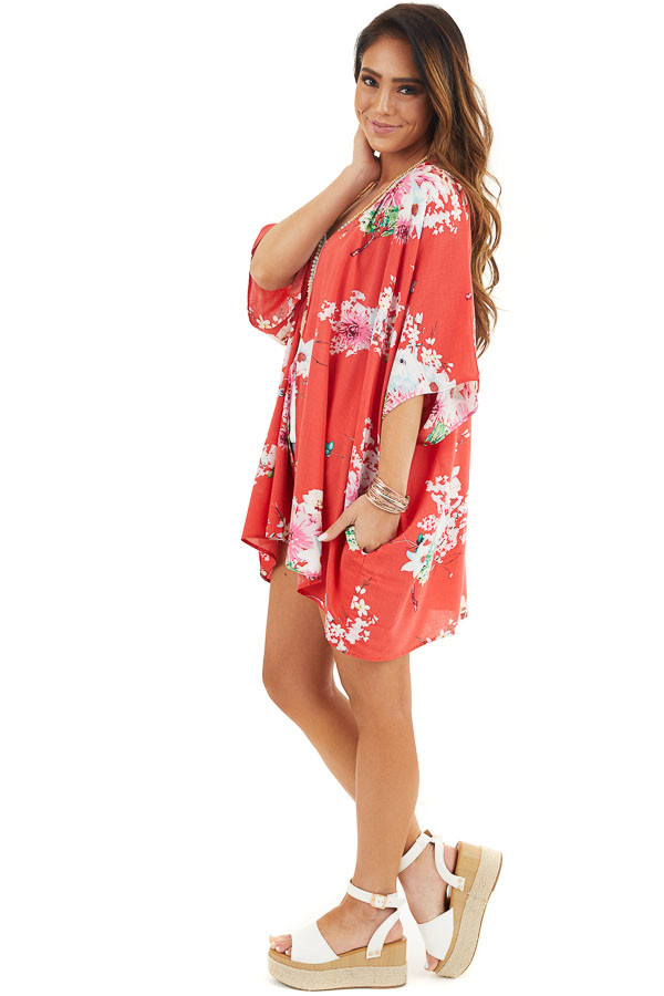 Bright Red Floral Print Short Sleeve Kimono with Open Front side full body