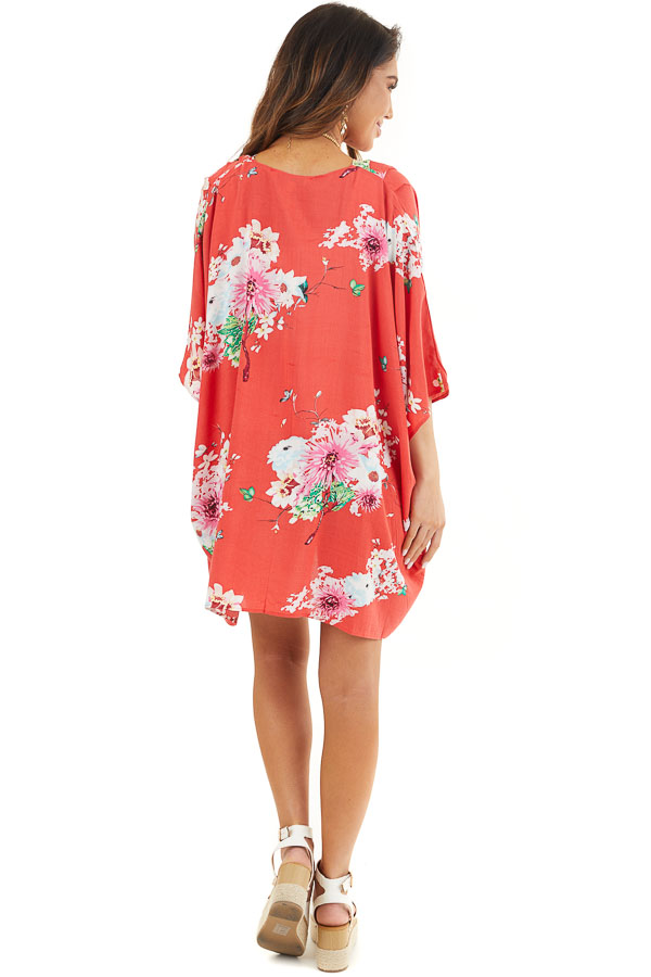 Bright Red Floral Print Short Sleeve Kimono with Open Front back full body