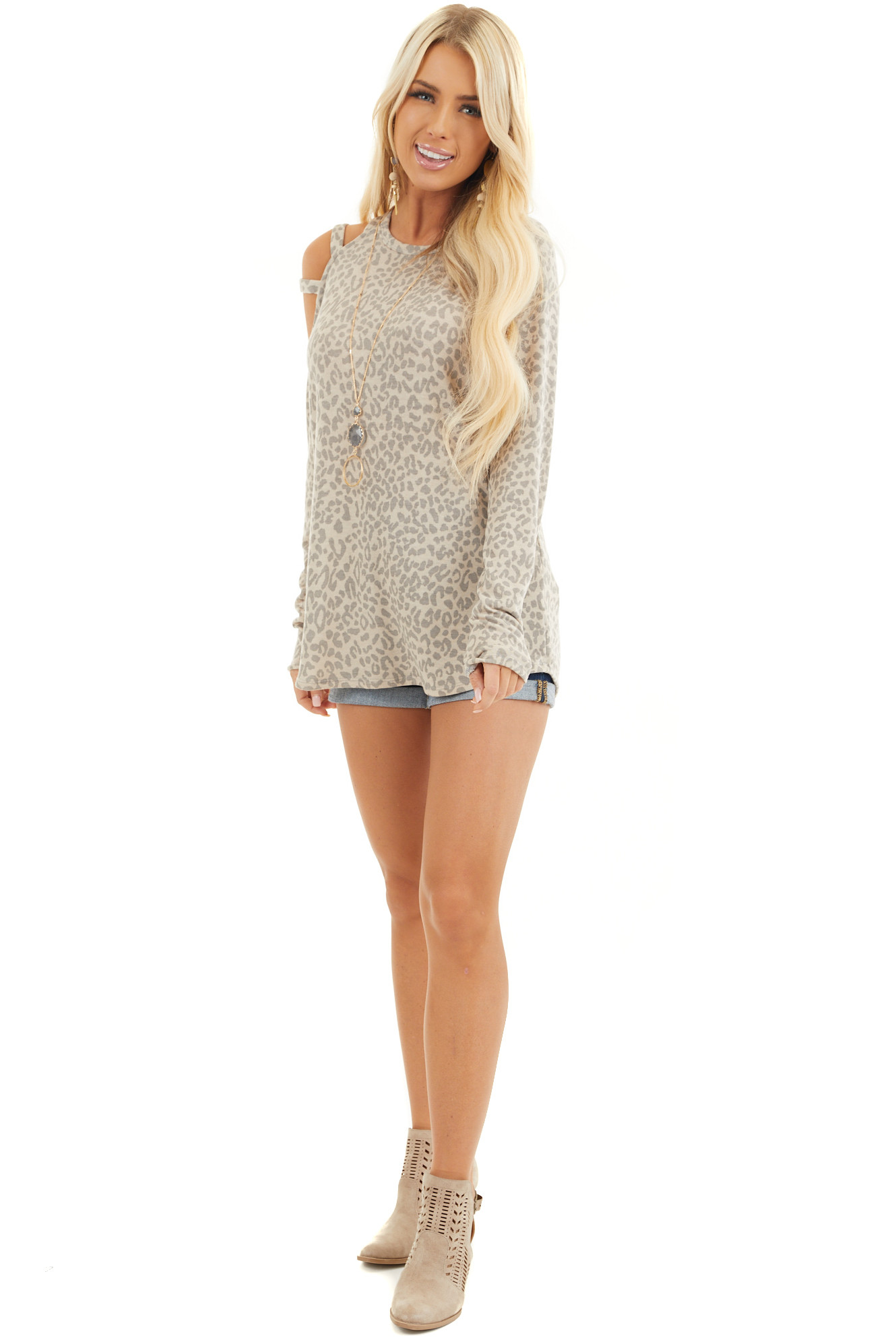 Beige and Taupe Leopard Print Single Cold Shoulder Top front full body