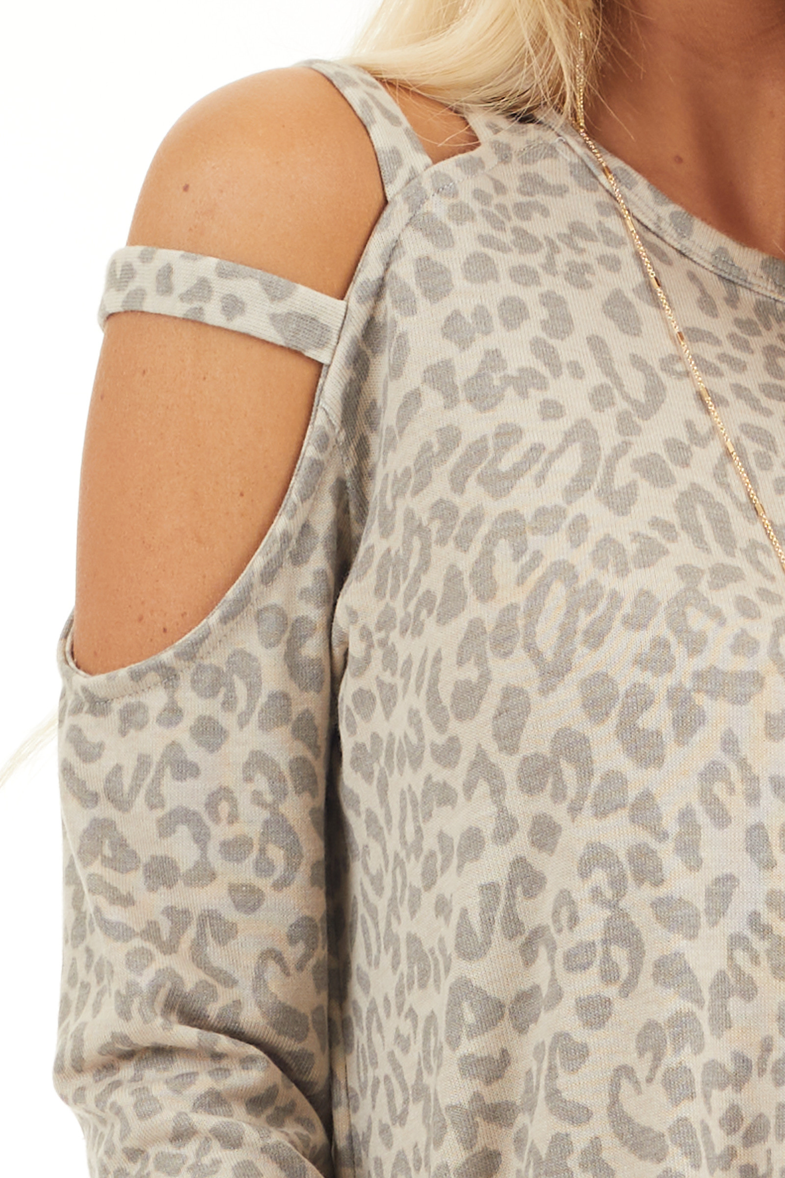 Beige and Taupe Leopard Print Single Cold Shoulder Top detail