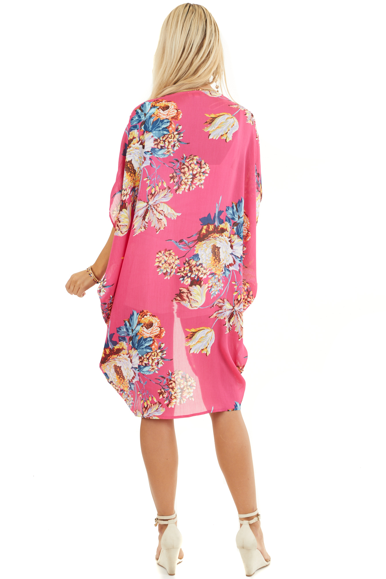 Hot Pink Floral Kimono with Cocoon Hem and Pleated Shoulders back full body