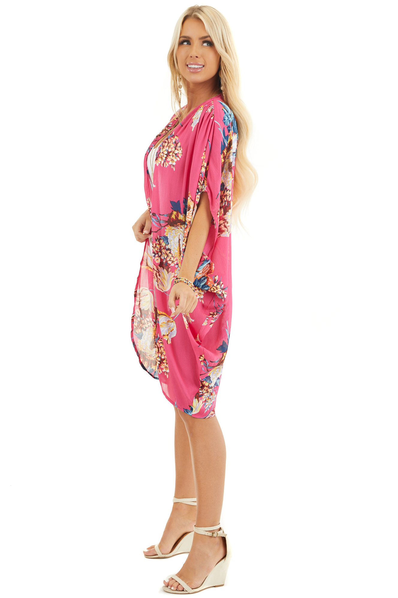 Hot Pink Floral Kimono with Cocoon Hem and Pleated Shoulders side full body