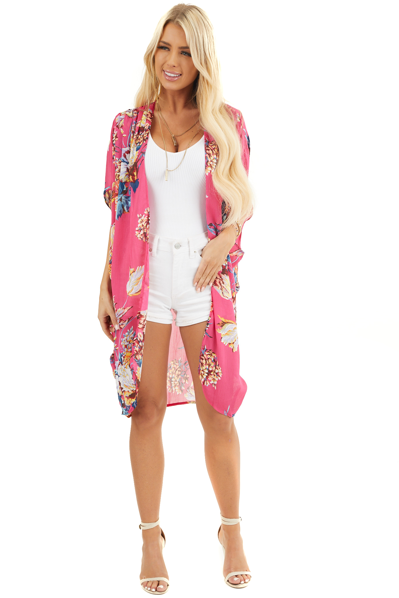 Hot Pink Floral Kimono with Cocoon Hem and Pleated Shoulders front full body