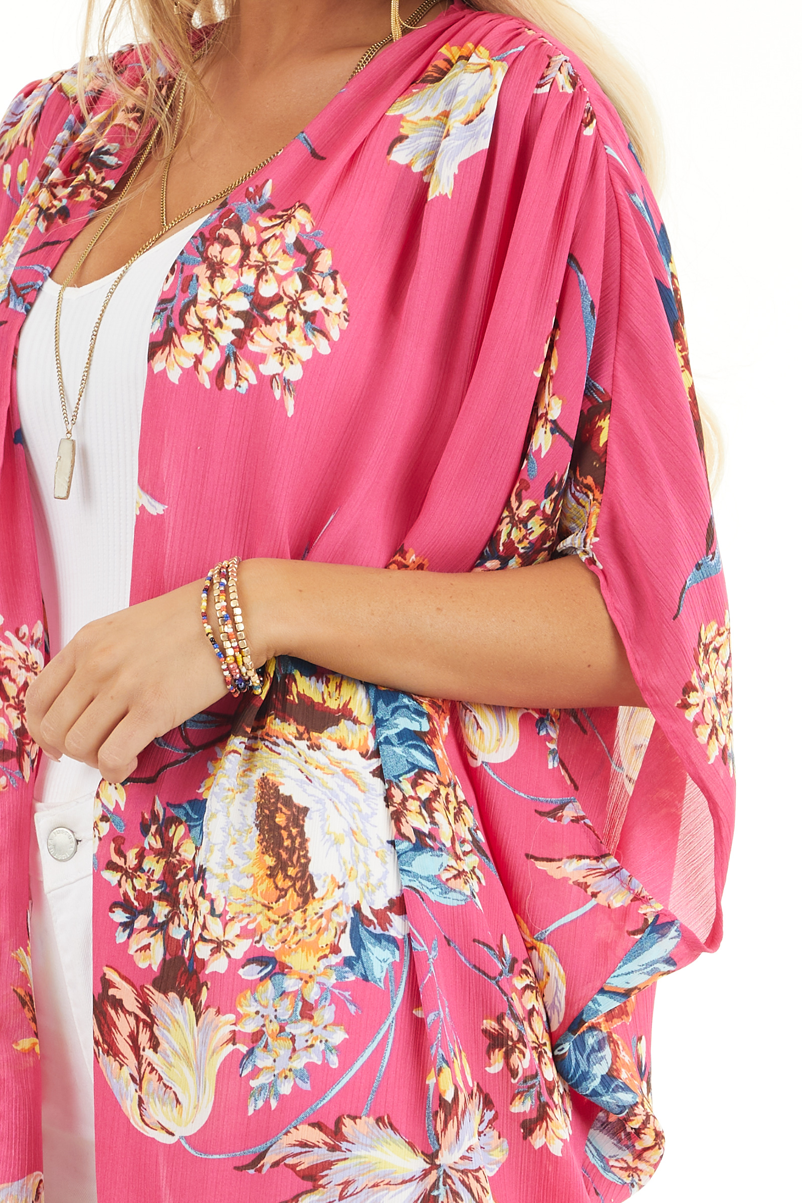 Hot Pink Floral Kimono with Cocoon Hem and Pleated Shoulders detail