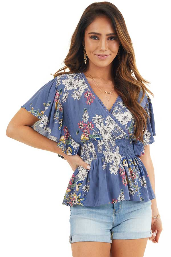 Dusty Blue Floral Print Surplice Blouse with Smocked Waist front close up