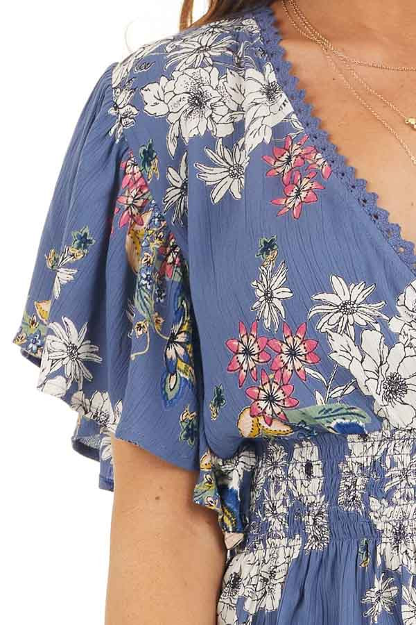 Dusty Blue Floral Print Surplice Blouse with Smocked Waist detail
