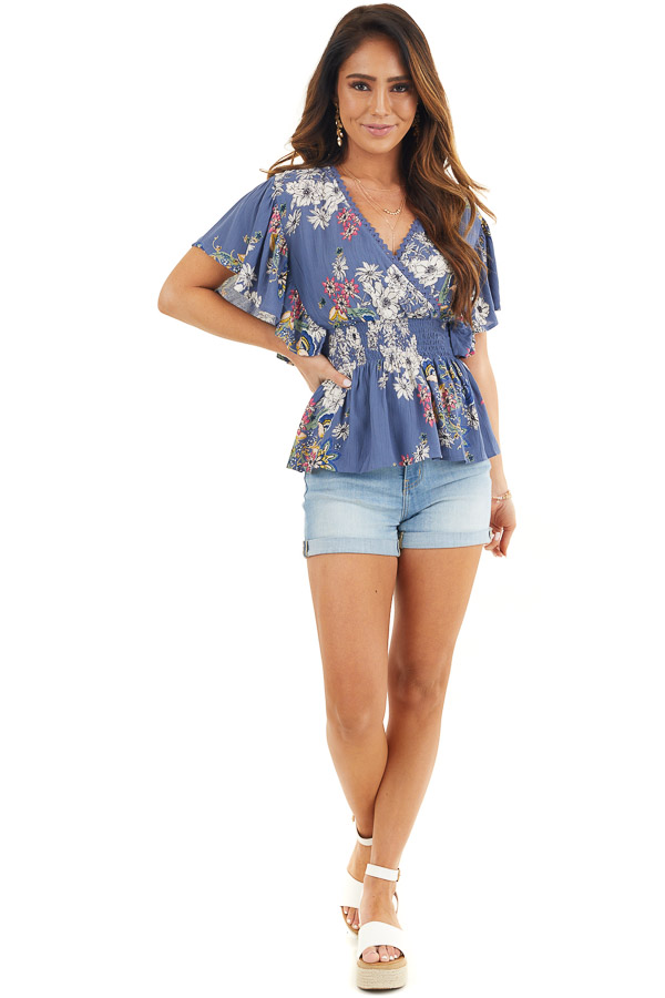 Dusty Blue Floral Print Surplice Blouse with Smocked Waist front full body