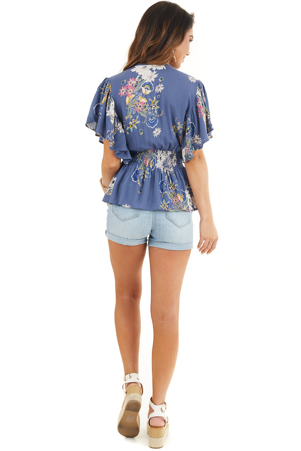 Dusty Blue Floral Print Surplice Blouse with Smocked Waist back full body