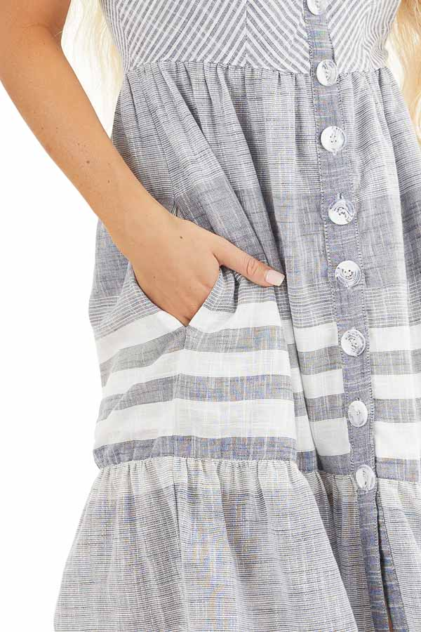 Denim Blue and Off White Striped Button Up Midi Dress detail