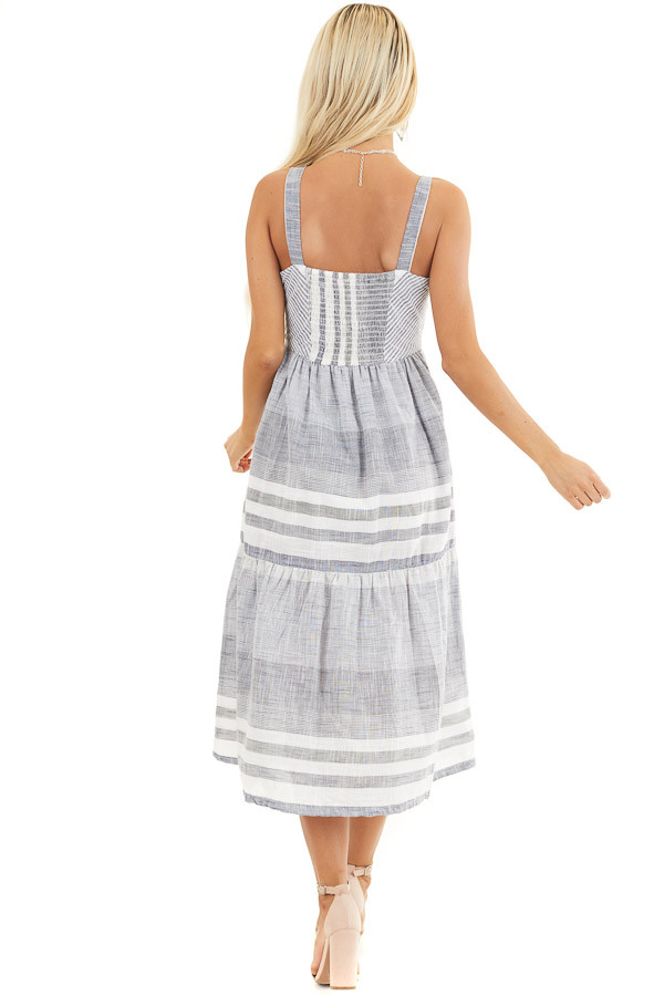 Denim Blue and Off White Striped Button Up Midi Dress back full body