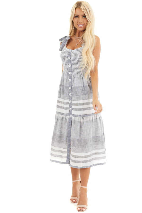 Denim Blue and Off White Striped Button Up Midi Dress front full body