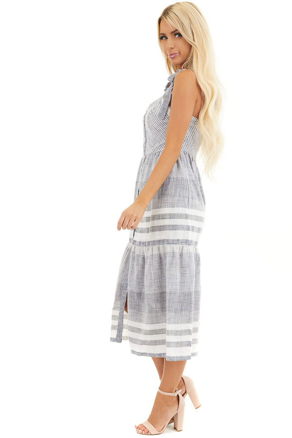 Denim Blue and Off White Striped Button Up Midi Dress side full body