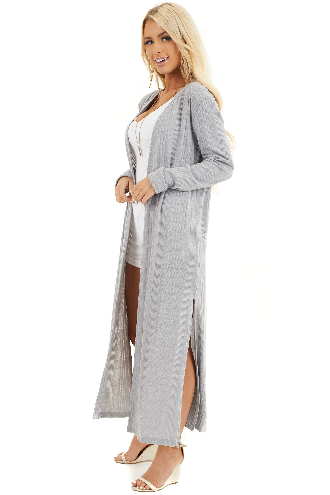 Soft Grey Knit Long Sleeve Duster Cardigan with Side Slits side full body
