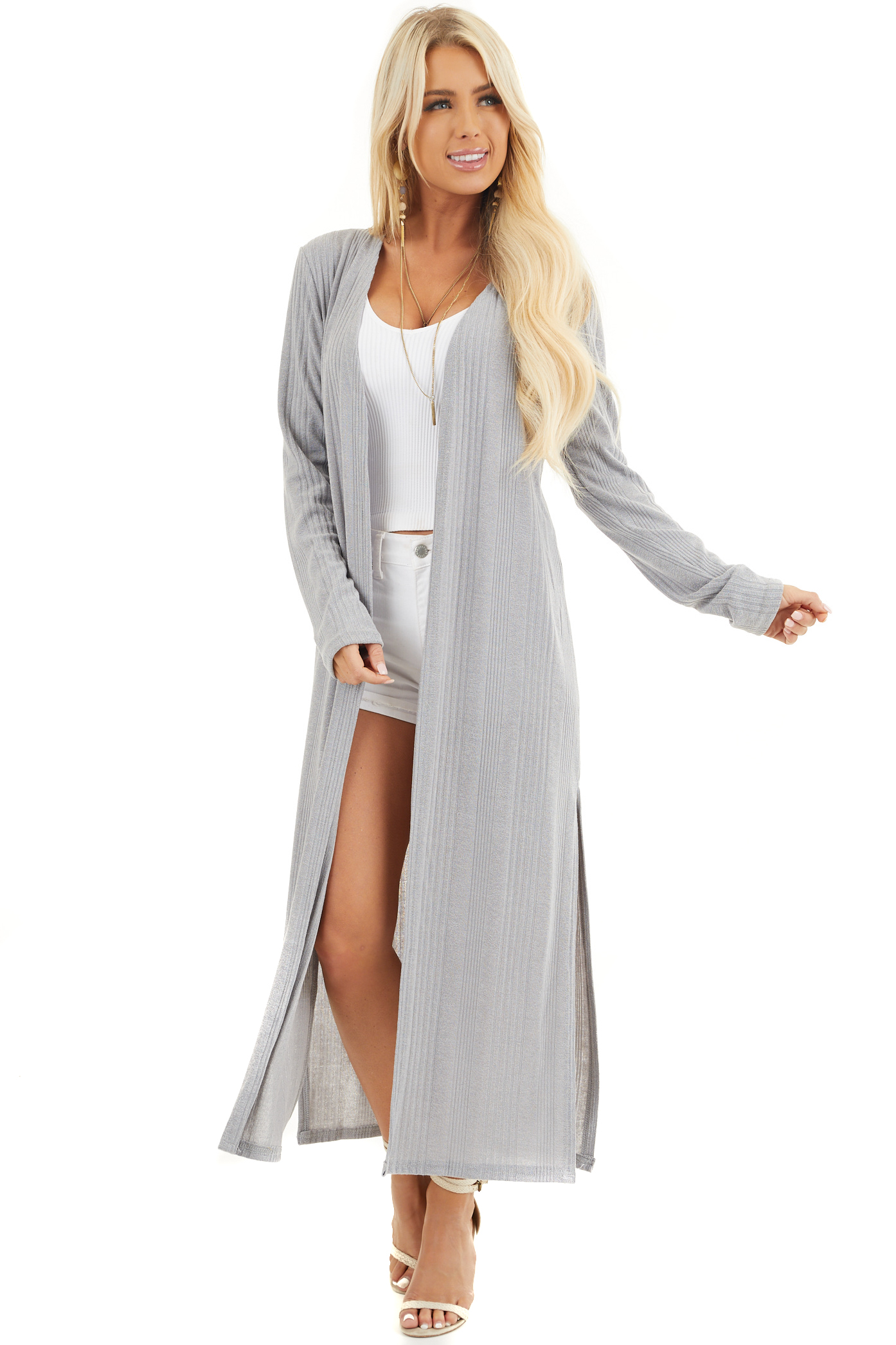 Soft Grey Knit Long Sleeve Duster Cardigan with Side Slits front full body