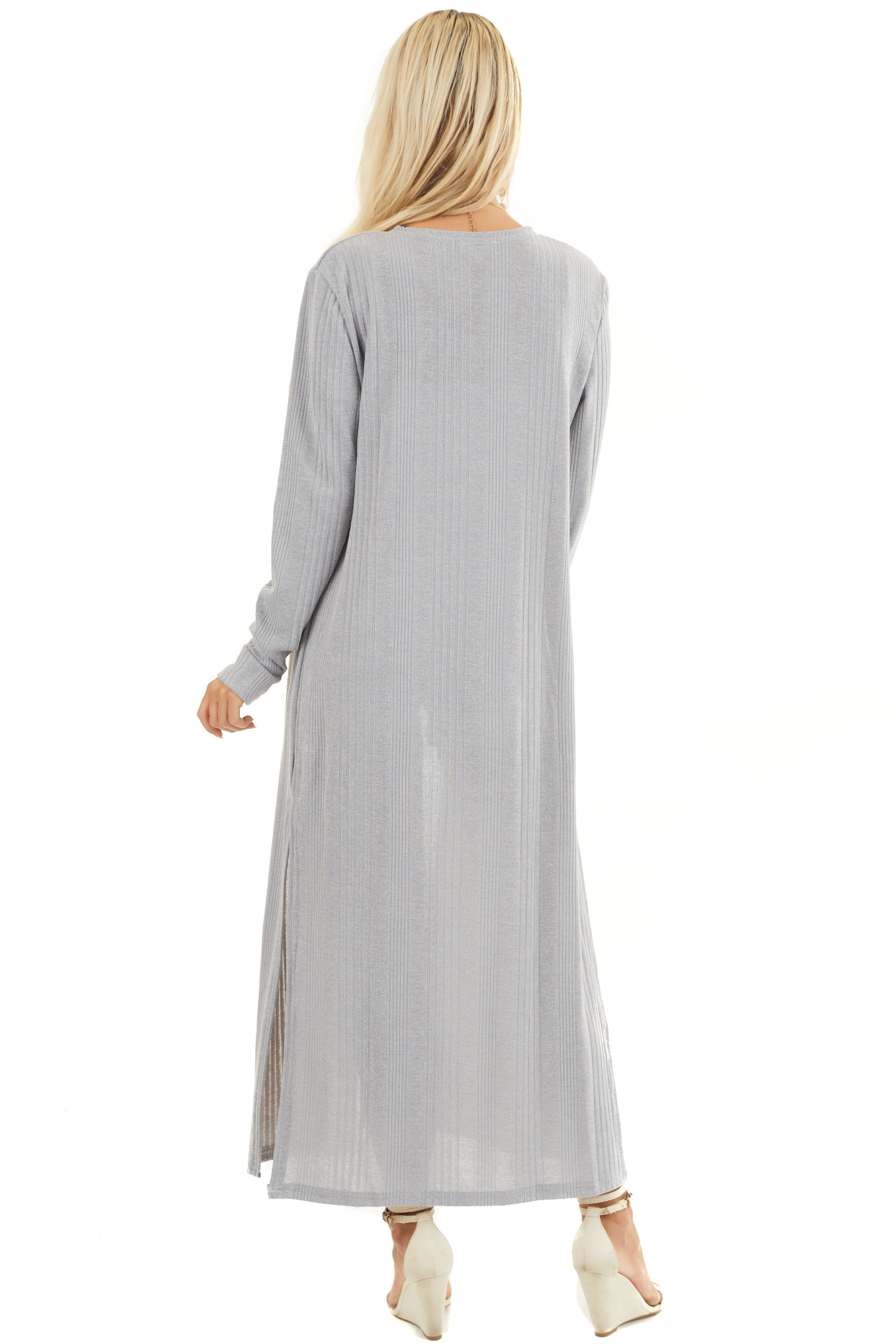 Soft Grey Knit Long Sleeve Duster Cardigan with Side Slits back full body