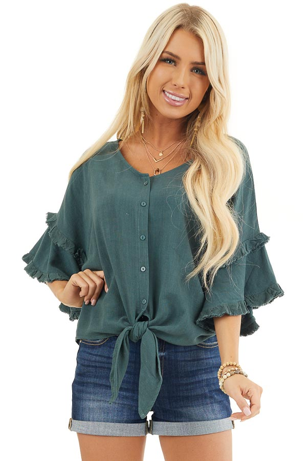 Forest Green Button Up Top with Ruffle Sleeves and and Tie front close up