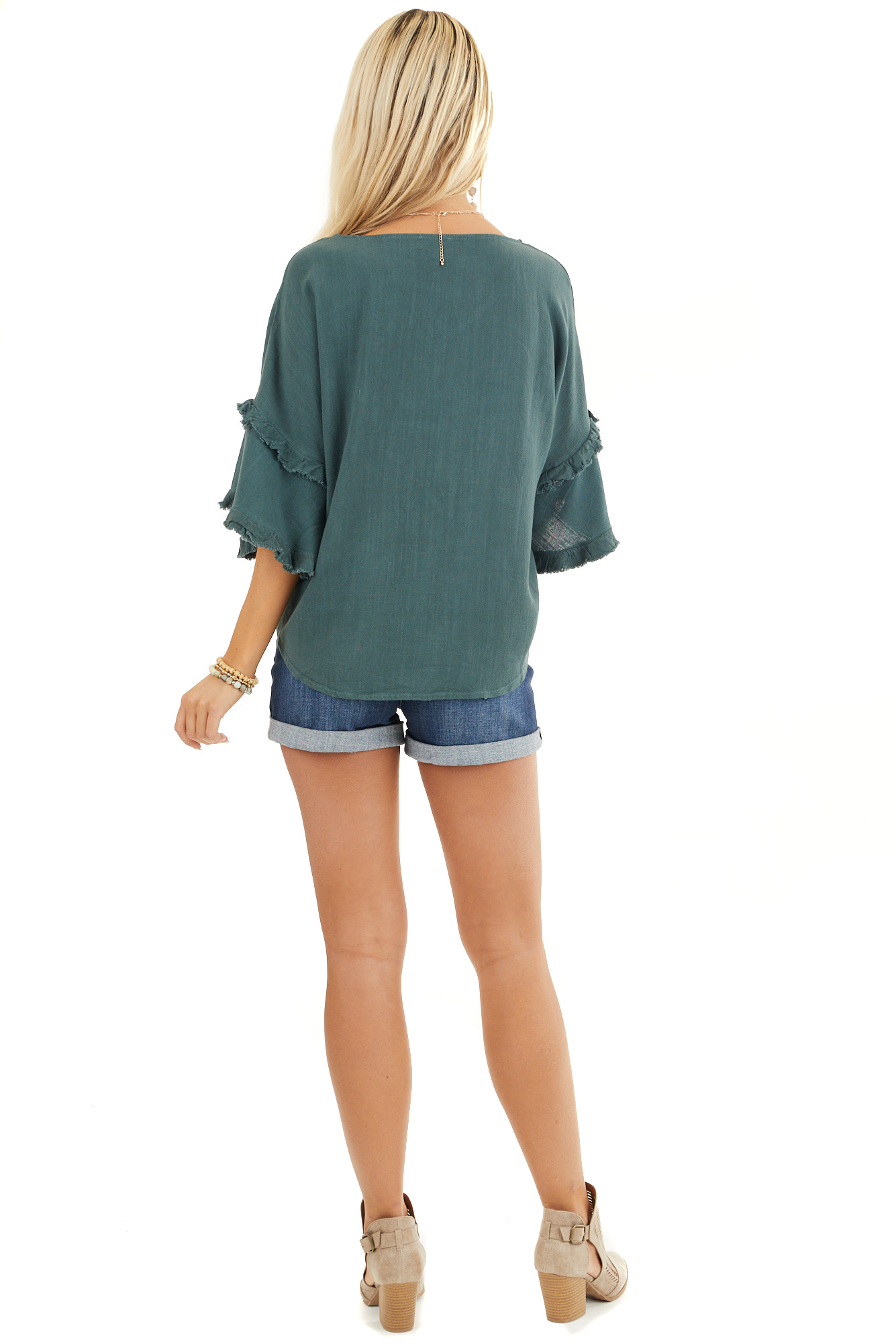 Forest Green Button Up Top with Ruffle Sleeves and and Tie back full body