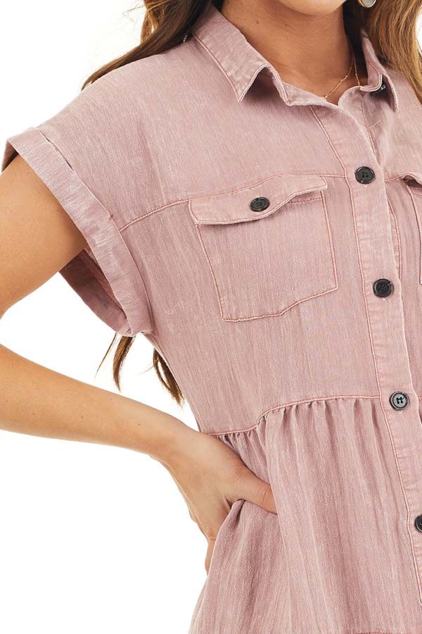 Dusty Rose Button Up Collared Dress with Cuffed Sleeves detail
