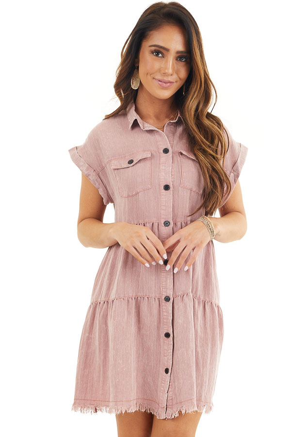 Dusty Rose Button Up Collared Dress with Cuffed Sleeves front close up